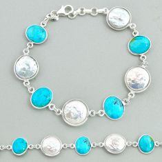 32.54cts tennis natural pearl arizona mohave turquois 925 silver bracelet t37320