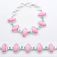 53.37cts tennis natural pink opal topaz 925 sterling silver bracelet t37646
