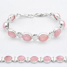 35.83cts tennis natural pink rose quartz 925 sterling silver bracelet t37649