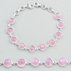 27.13cts tennis natural pink rose quartz 925 sterling silver bracelet t48701