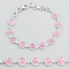 27.64cts tennis natural pink rose quartz 925 sterling silver bracelet t48702
