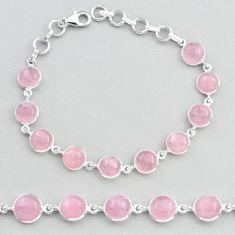 27.69cts tennis natural pink rose quartz 925 sterling silver bracelet t48704