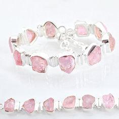 42.86cts tennis natural pink rose quartz raw 925 silver bracelet t6675
