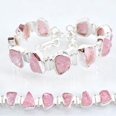 42.75cts tennis natural pink rose quartz raw 925 silver bracelet t6676