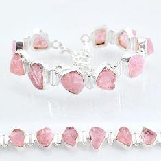 44.51cts tennis natural pink rose quartz raw 925 silver bracelet t6678