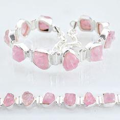 43.63cts tennis natural pink rose quartz raw 925 silver bracelet t6680