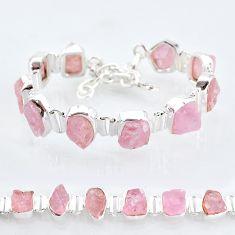 42.37cts tennis natural pink rose quartz raw fancy 925 silver bracelet t6677