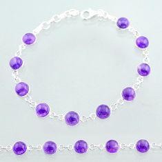 21.48cts tennis natural purple amethyst 925 sterling silver bracelet t40401