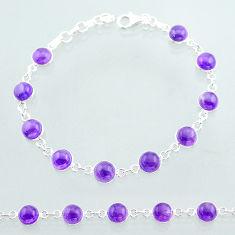 23.11cts tennis natural purple amethyst 925 sterling silver bracelet t40408