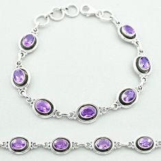 10.15cts tennis natural purple amethyst 925 sterling silver bracelet t52064