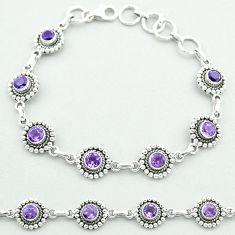 6.51cts tennis natural purple amethyst 925 sterling silver bracelet t52066