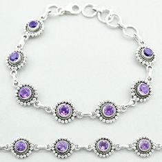 6.34cts tennis natural purple amethyst 925 sterling silver bracelet t52067