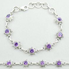 6.02cts tennis natural purple amethyst 925 sterling silver bracelet t52146