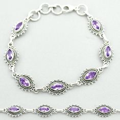 10.82cts tennis natural purple amethyst 925 sterling silver bracelet t52149