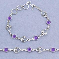 9.65cts tennis natural purple amethyst 925 sterling silver bracelet t8346