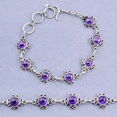14.33cts tennis natural purple amethyst 925 sterling silver bracelet t8367