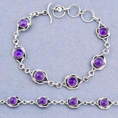 14.80cts tennis natural purple amethyst 925 sterling silver bracelet t8385
