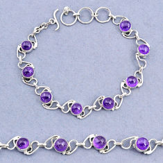 17.02cts tennis natural purple amethyst 925 sterling silver bracelet t8422