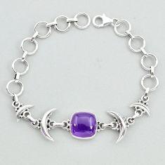 6.66cts tennis natural purple amethyst octagan 925 silver moon bracelet t38833