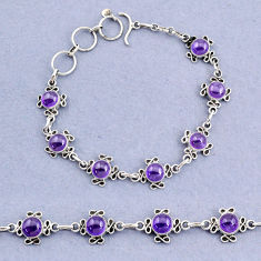 14.92cts tennis natural purple amethyst round 925 sterling silver bracelet t8368