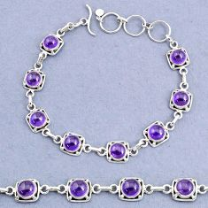 16.45cts tennis natural purple amethyst round 925 sterling silver bracelet t8445
