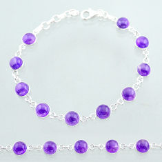 22.05cts tennis natural purple amethyst round sterling silver bracelet t40404