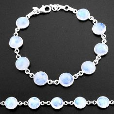 31.44cts tennis natural rainbow moonstone 925 sterling silver bracelet t40420