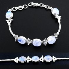 19.30cts tennis natural rainbow moonstone 925 sterling silver bracelet t48688
