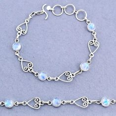 10.16cts tennis natural rainbow moonstone 925 sterling silver bracelet t8359