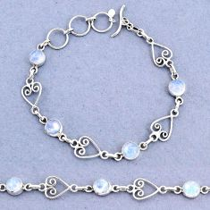 10.16cts tennis natural rainbow moonstone 925 sterling silver bracelet t8360