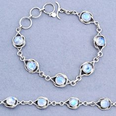 14.80cts tennis natural rainbow moonstone 925 sterling silver bracelet t8395