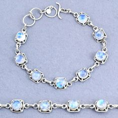 17.42cts tennis natural rainbow moonstone 925 sterling silver bracelet t8417