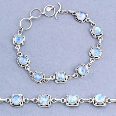 17.42cts tennis natural rainbow moonstone 925 sterling silver bracelet t8419