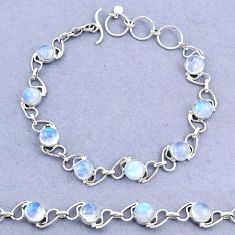 16.99cts tennis natural rainbow moonstone 925 sterling silver bracelet t8440