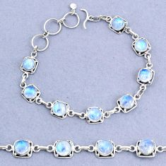 16.05cts tennis natural rainbow moonstone 925 sterling silver bracelet t8449