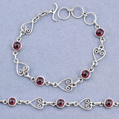 9.88cts tennis natural red garnet 925 sterling silver bracelet jewelry t8343