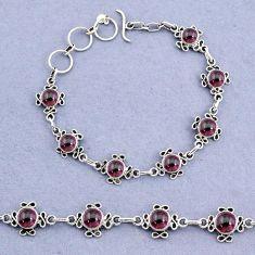 15.68cts tennis natural red garnet round 925 sterling silver bracelet t8363