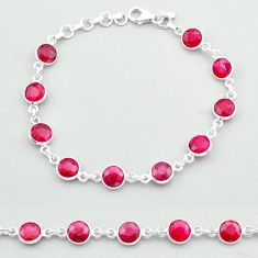 20.51cts tennis natural red ruby 925 sterling silver bracelet jewelry t40325