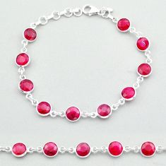 19.45cts tennis natural red ruby 925 sterling silver bracelet jewelry t40328