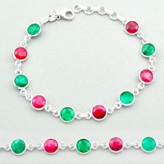 19.37cts tennis natural red ruby emerald 925 sterling silver bracelet t40320
