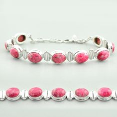 39.04cts tennis natural thulite (unionite, pink zoisite) silver bracelet t55593