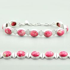 38.27cts tennis natural thulite (unionite, pink zoisite) silver bracelet t55594