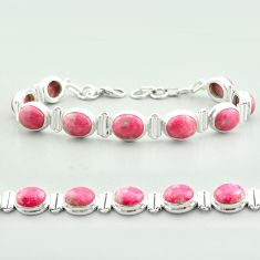 38.68cts tennis natural thulite (unionite, pink zoisite) silver bracelet t55596