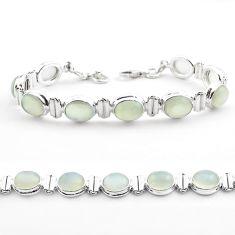 39.48cts tennis natural white ceylon moonstone 925 silver bracelet t51373