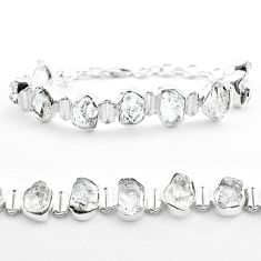 47.26cts tennis natural white herkimer diamond 925 silver bracelet t50470