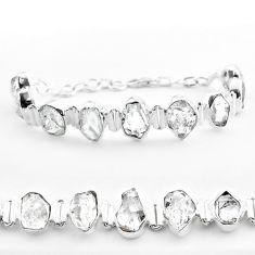 46.77cts tennis natural white herkimer diamond 925 silver fancy bracelet t50473