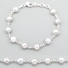 21.48cts tennis natural white pearl 925 sterling silver bracelet jewelry t40377
