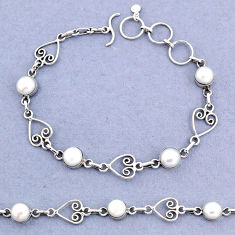 11.05cts tennis natural white pearl 925 sterling silver bracelet jewelry t8356