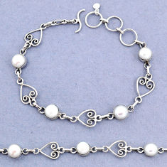 11.05cts tennis natural white pearl 925 sterling silver bracelet jewelry t8357
