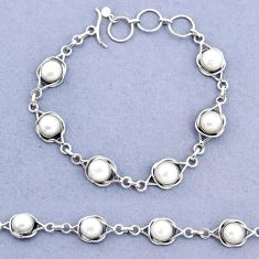 17.21cts tennis natural white pearl 925 sterling silver bracelet jewelry t8396